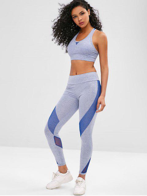 Space Dye Racerback Gym Bra and Leggings Suit - Ozeanblau M Mobile