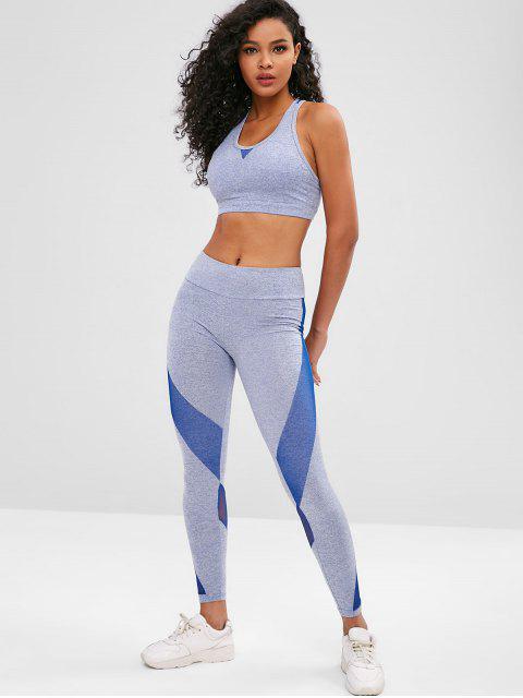 Space Dye Racerback Gym Bra and Leggings Suit - Ozeanblau L Mobile