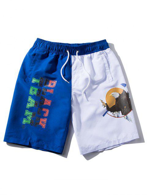 Shorts de playa con cordón elástico estampado con letras de águila - Azul profundo S Mobile