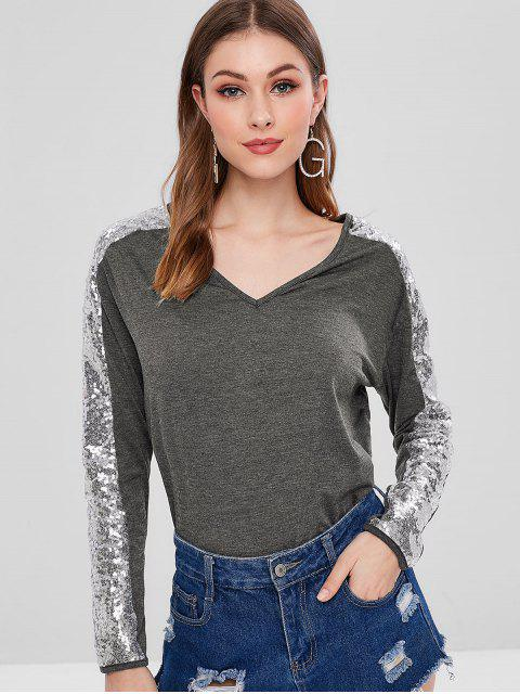 chic Long Sleeve Sequined V Neck Tee - MULTI L Mobile