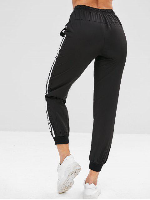 ZAFUL Pantalones de Jogger de Rayas con Cordón - Negro M Mobile