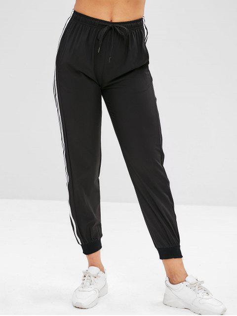 buy ZAFUL Striped Drawstring Jogger Pants - BLACK L Mobile