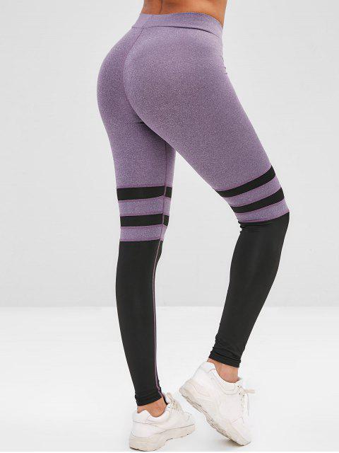 Leggings de gimnasia elásticos en dos tonos - Arbusto Púrpura L Mobile
