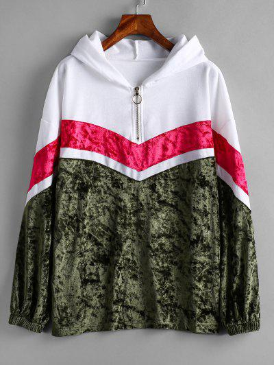 Chevron Paneled Pullover Hoodie