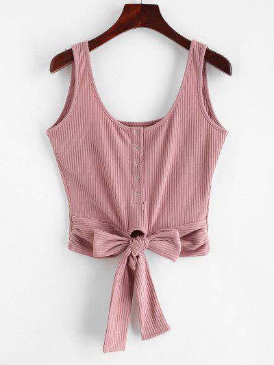 c1e5c1f995ba4 ZAFUL Ribbed Knit Knot Crop Tank Top - Lipstick Pink L