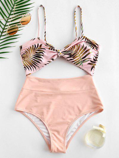 b0da8a8358259 ZAFUL Leaf Cutout Knot Bandeau Swimsuit - Sakura Pink M ...