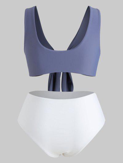 3d58fbcddb9 ... Qonew Tie Front Plus Size Bikini Set - Slate Blue 3x