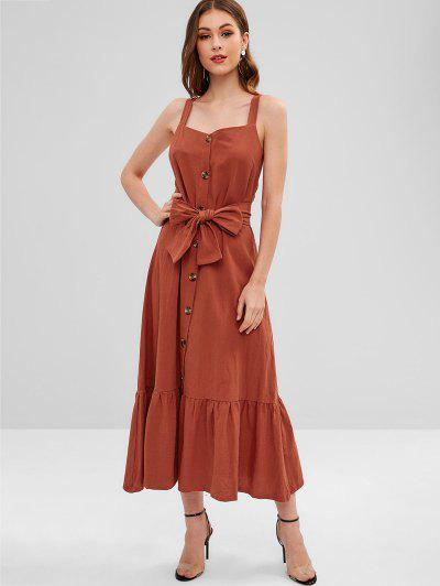 Button Up A Line Maxi Dress - Orange Salmon - Orange Salmon L 3e37303c1