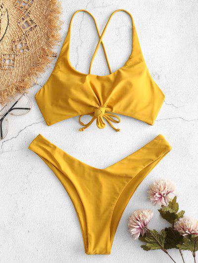 ZAFUL Knot Lace-up Criss Cross Bikini Set - Bee Yellow L