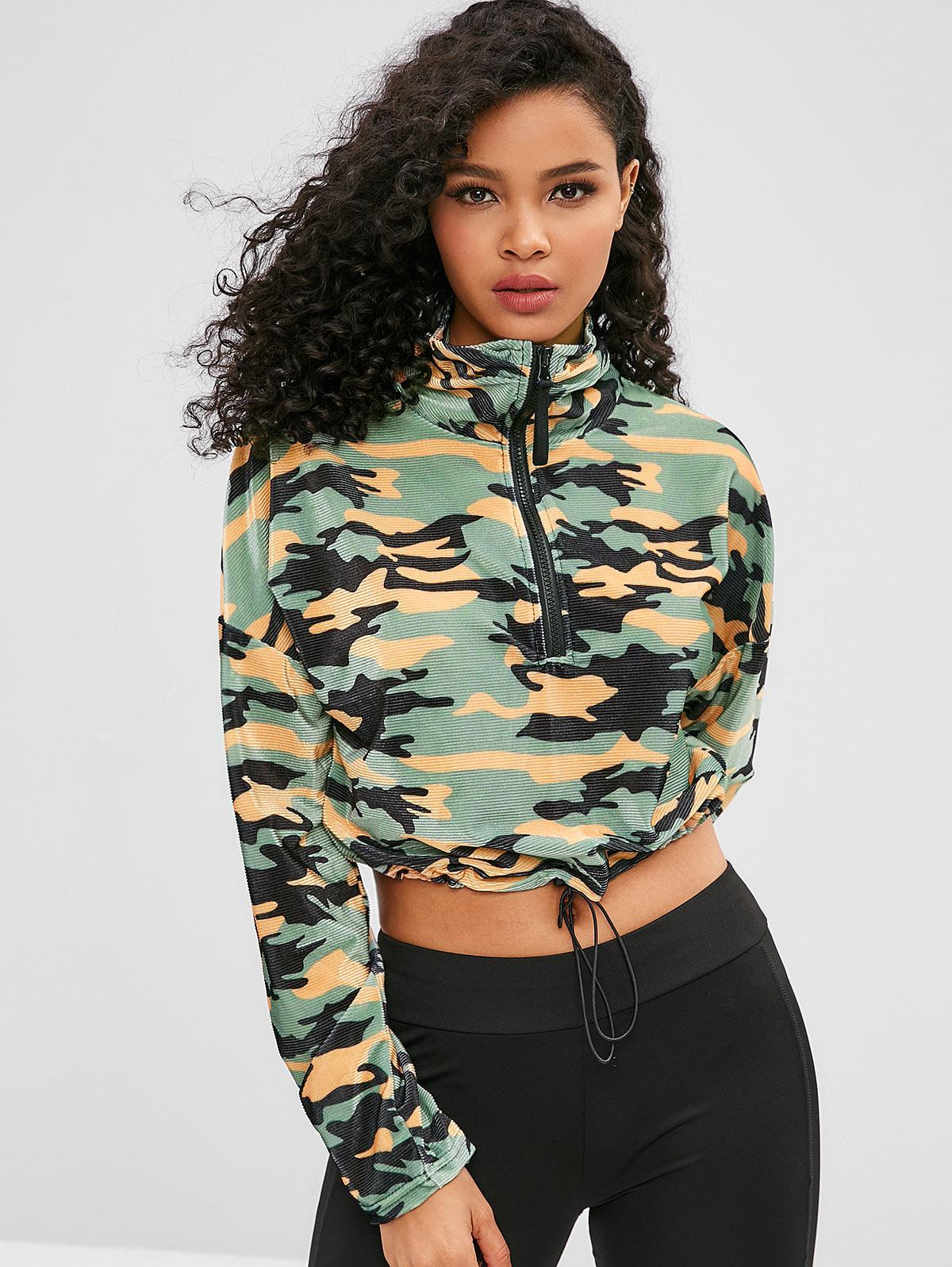 ZAFUL Zipped Camo Print Drawcord Sports Top