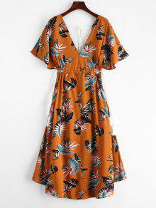 f8e3df9cc51 30% OFF  2019 Batwing Floral Cut Out Midi Dress In YELLOW