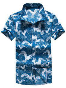طيور النورس طباعة قمصان اكمام قصيرة - متعدد L