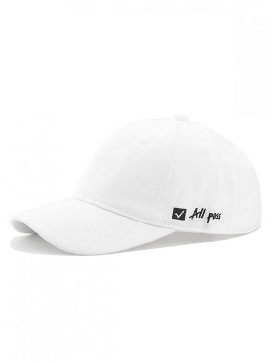 Gorra de beisbol de decoracion de letras - Blanco