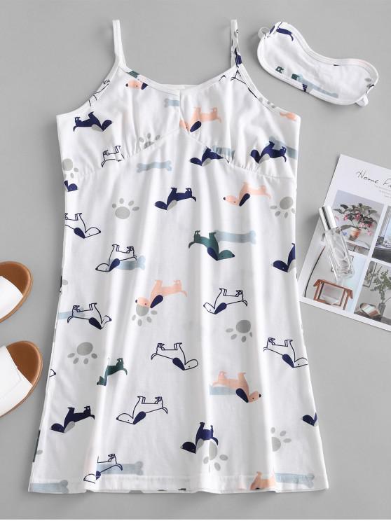 Vestido de pijama cami estampado perro - Blanco 2XL