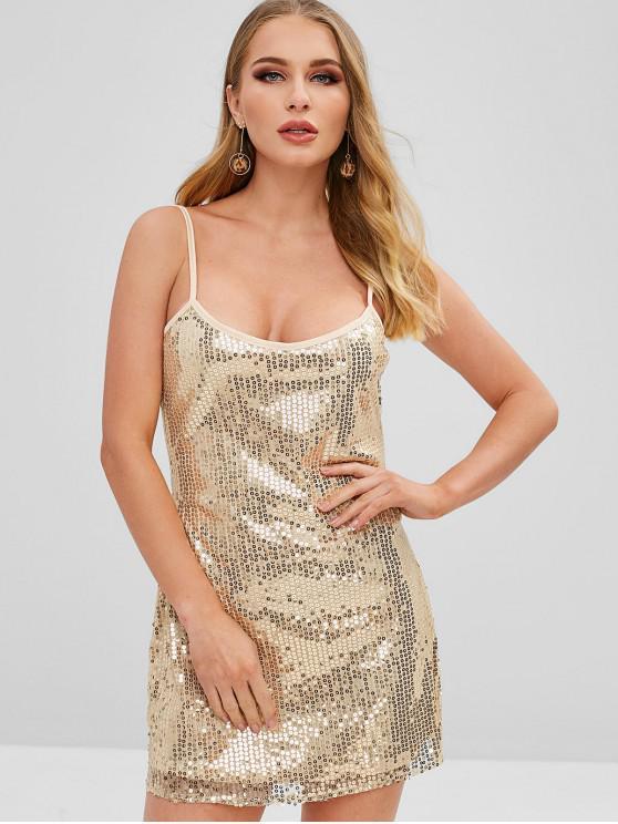 ZAFUL Vestido de Camisas com Lantejoulas - Ouro L