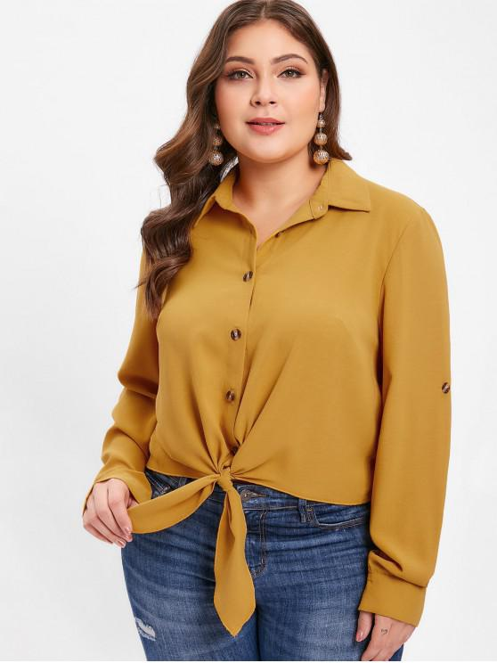 sale ZAFUL Rolled Sleeve Plus Size Button Up Blouse - BEE YELLOW 1X