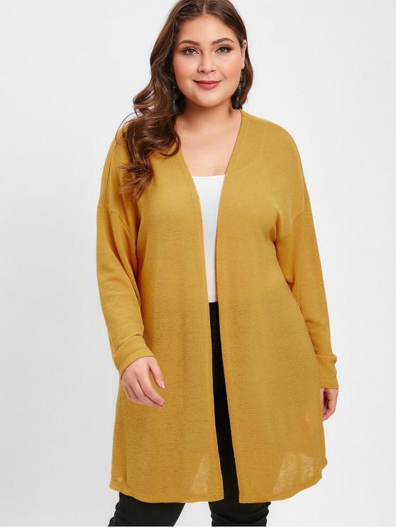 shops ZAFUL Plus Size Tunic Knit Cardigan - BEE YELLOW L