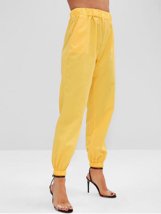 unique ZAFUL Plain Pockets Jogger Pants - YELLOW S