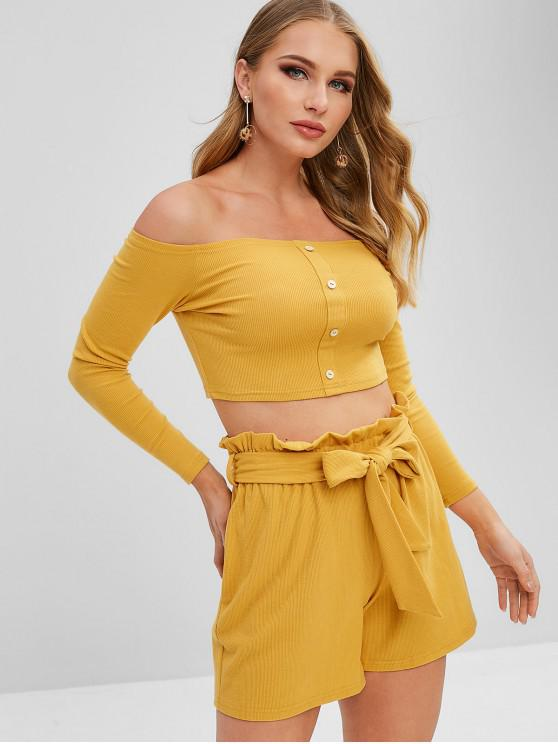 hot ZAFUL Off Shoulder Buttoned Top And Shorts Set - YELLOW S