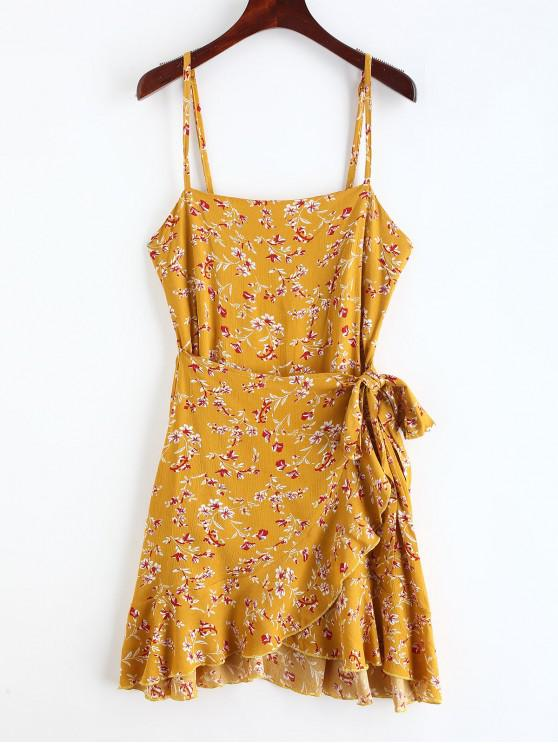 lady Ruffles Overlap Mini Dress - GOLDEN BROWN L