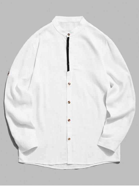 online Contrast Placket Sleeve Roll Up Shirt - WHITE L