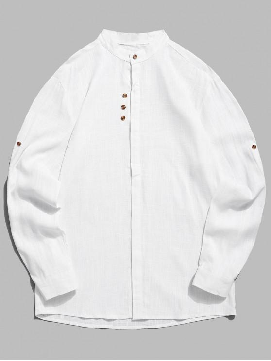 affordable Stand Collar Sleeve Roll Up Casual Shirt - WHITE M