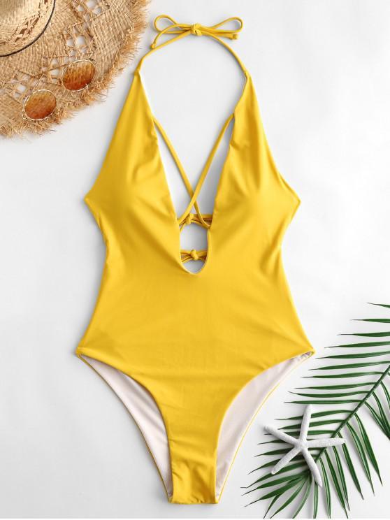 Plunge Crisscross Tied One Piece Swimwear - Marrón Dorado L
