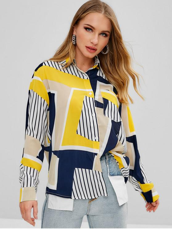 outfit Patchwork Print Shirt - MULTI M