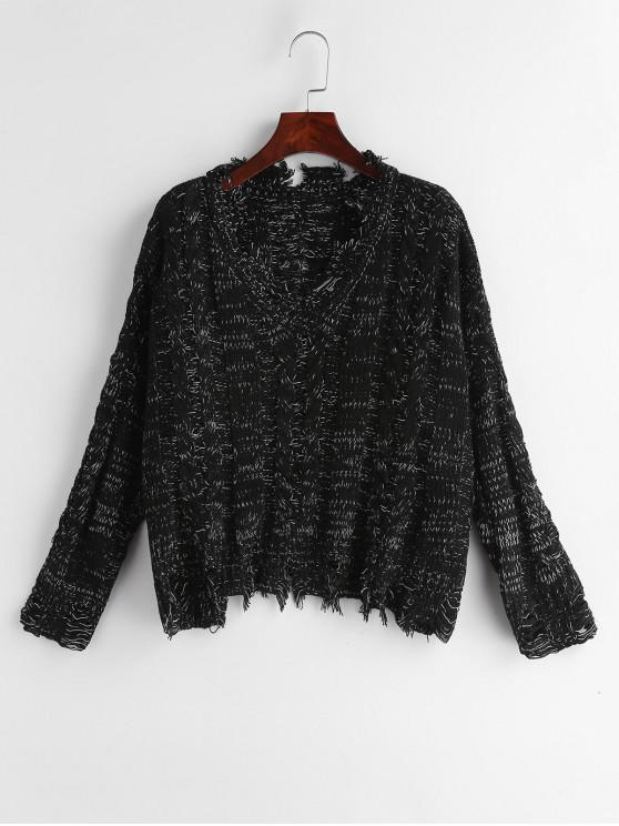 best Heathered Distressed V Neck Sweater - BLACK ONE SIZE