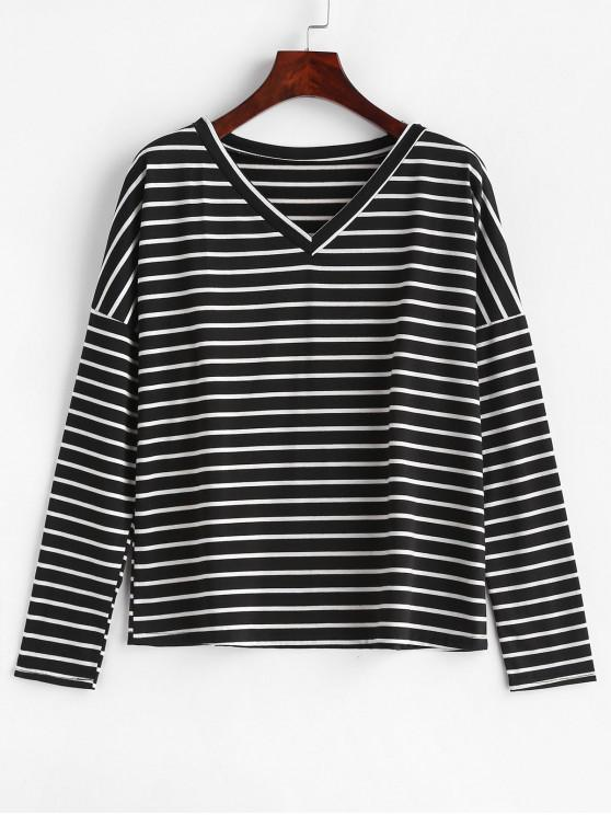 outfits V Neck Striped Relaxed Tee - MULTI M