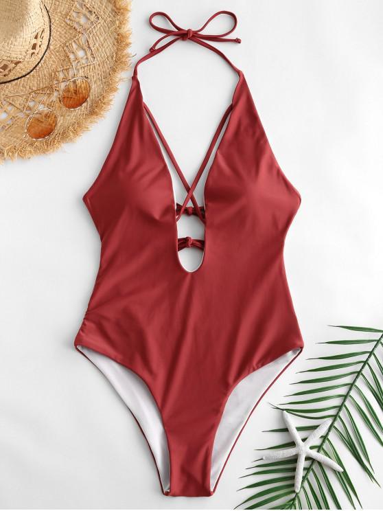 women Plunge Crisscross Tied One-piece Swimwear - CHERRY RED S