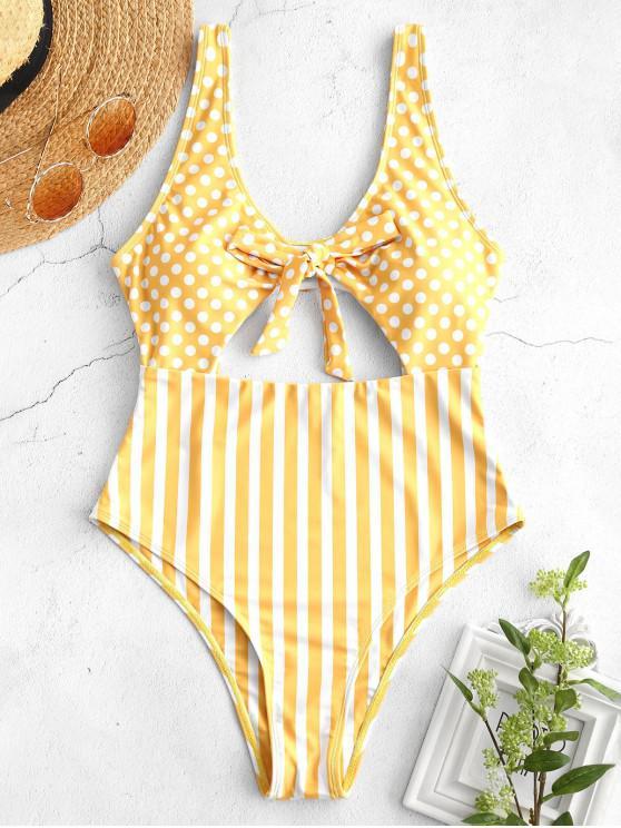 trendy ZAFUL Polka Dot Striped Bowknot Swimsuit - GOLDEN BROWN M