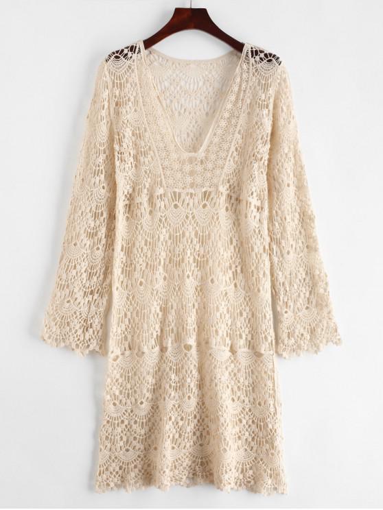chic Crochet V Neck Cover Up Dress - WARM WHITE ONE SIZE