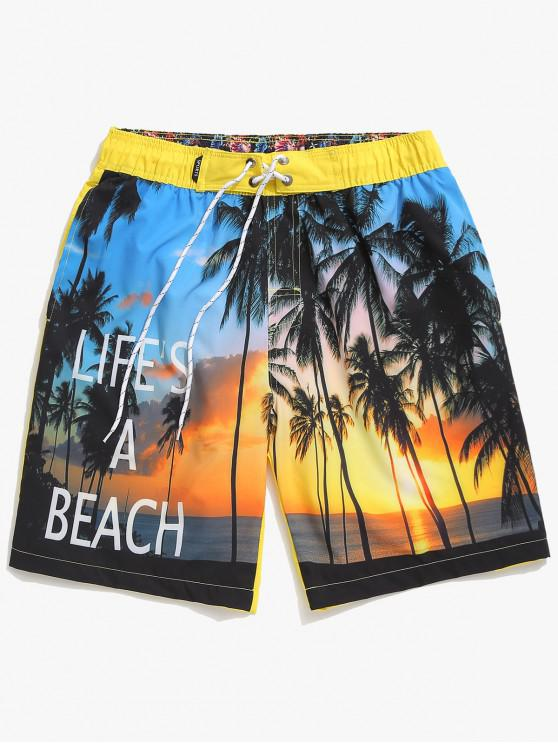 womens Coconut Trees Sea Side Scenery Print Board Shorts - YELLOW XS
