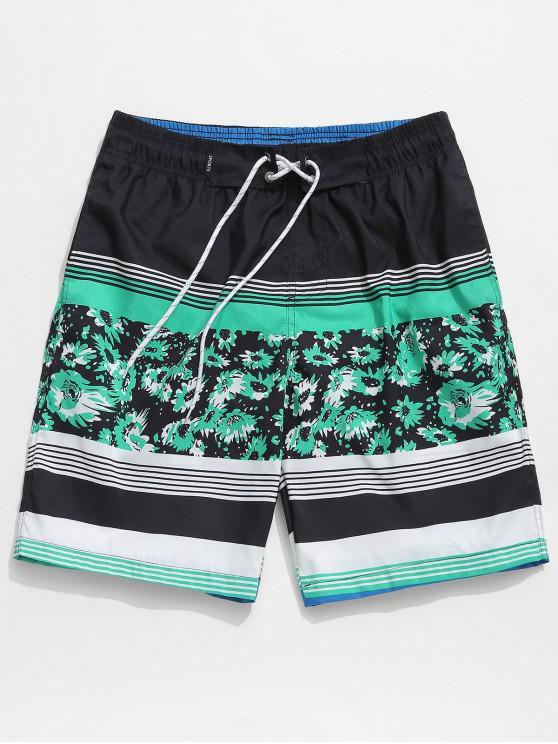affordable Floral Print Striped Drawstring Beach Shorts - SEA GREEN L