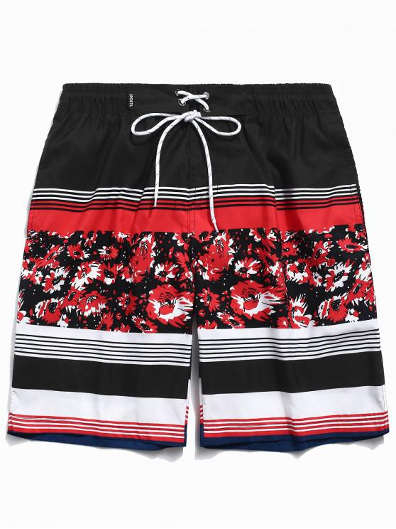 womens Floral Print Striped Drawstring Beach Shorts - RED XS