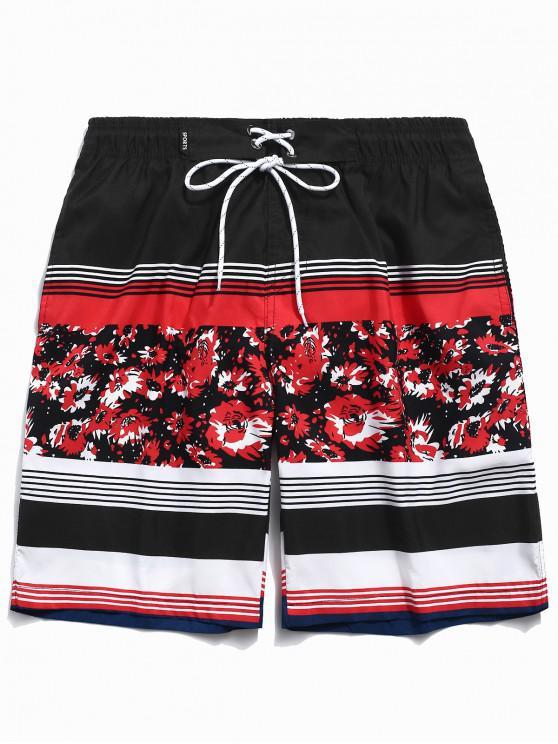 women Floral Print Striped Drawstring Beach Shorts - RED S