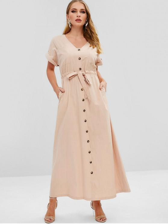 shop ZAFUL Pockets Buttoned Maxi Dress - PINK L