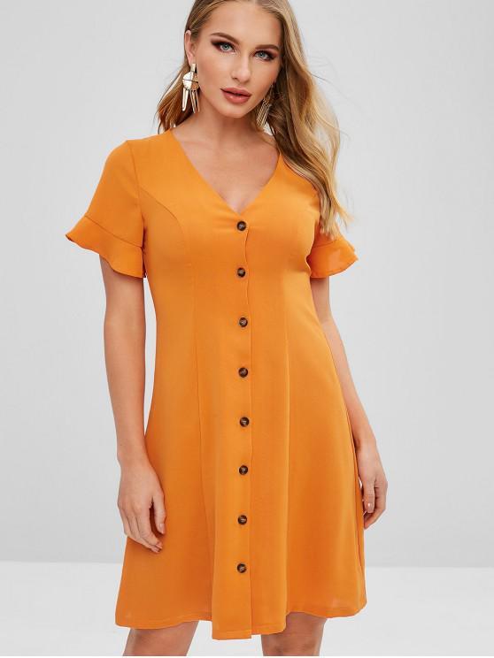 hot ZAFUL Ruffled Button Up Mini Dress - DARK ORANGE M