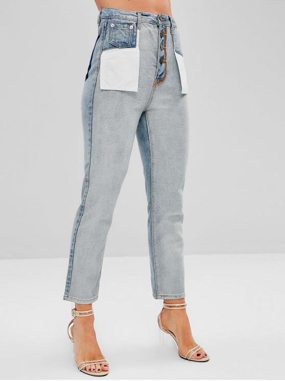 unique High Waist Contrast Straight Jeans - DENIM BLUE L