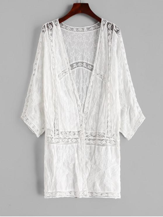 hot Crochet Collarless Longline Cover Up - WHITE ONE SIZE
