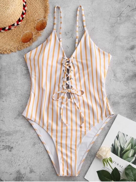 ZAFUL Listrado Lace Up Cami Swimsuit - Borracha Ducky Amarela L