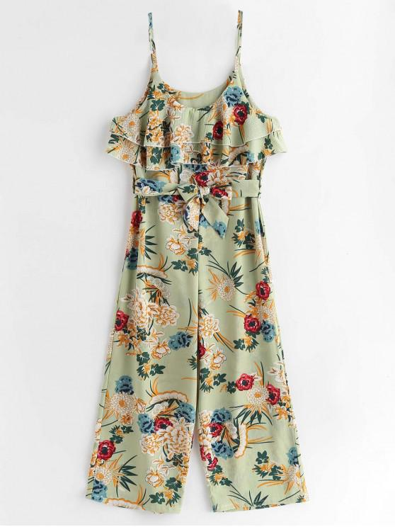 buy Flounce Cami Flower Print Belted Jumpsuit - GREEN S