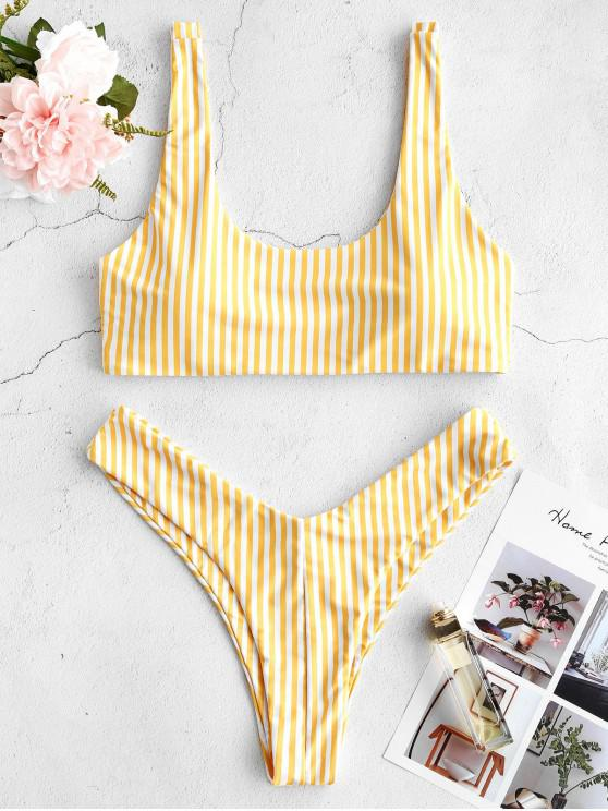 best ZAFUL Striped High Leg Scooped Bikini Set - YELLOW M