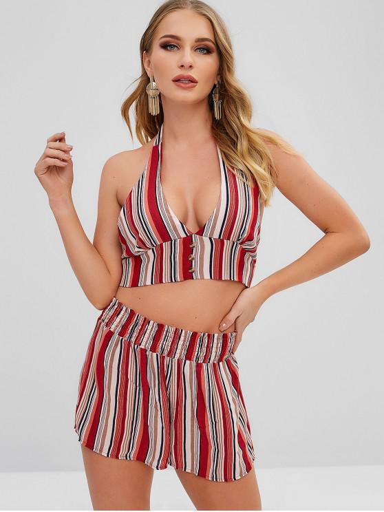 bba0c543d6 57% OFF] 2019 Striped Halter Top And Shorts Two Piece Set In MULTI ...