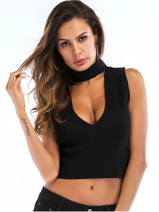 latest Cut Out Zip Choker Crop Tank Top - BLACK XL