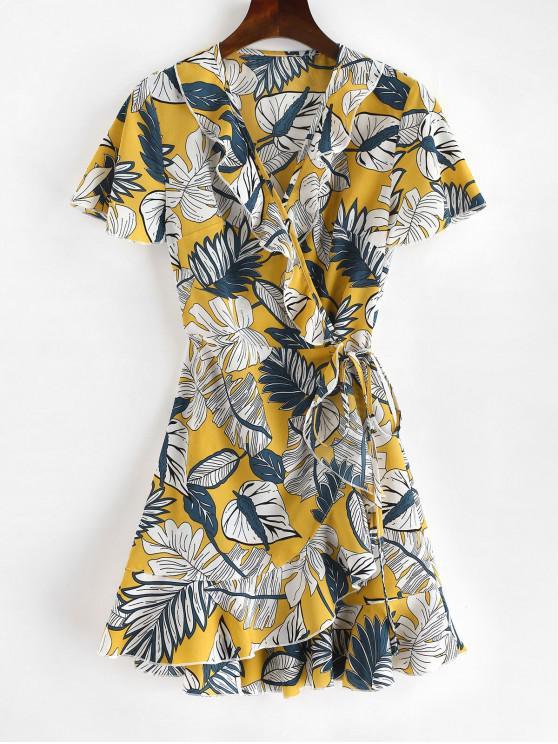 ZAFUL Mini-robe à volants et imprimé tropical - Multi S