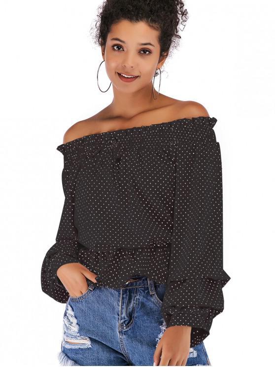 women's Flounce Draped Polka Dot Blouse - BLACK XL