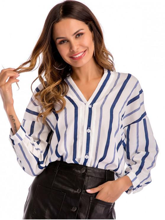 outfit Striped Drop Shoulder Tunic Blouse - WHITE L