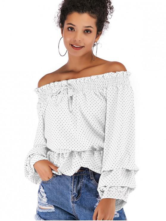 latest Flounce Draped Polka Dot Blouse - WHITE XL
